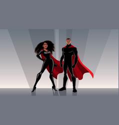 superhero couple black vector image