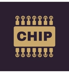 The chip icon Microchip and microcircuit symbol vector