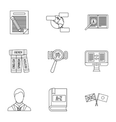 Translation of language icons set outline style vector image