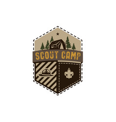 Traveling outdoor badge scout camp emblem vector