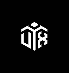 Ux monogram logo with abstract hexagon style vector