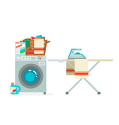 washer laundry basket washing dirty clothes vector image