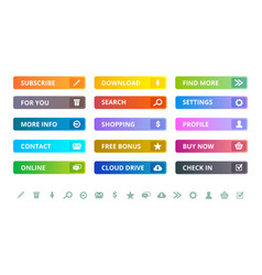 web buttons internet modern colored flat icons vector image