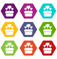 wedding cake icons set 9 vector image