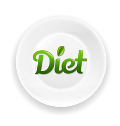white plate with diet text vector image