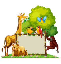Wild animals around wooden frame vector