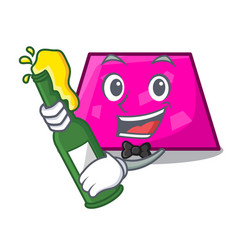 With beer trapezoid mascot cartoon style vector