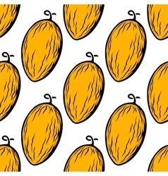 Yellow melon fruit seamless pattern vector image
