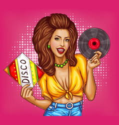 young woman with disco vinyl record pop art vector image