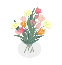 Bouquet of tulips in glass vase vector image