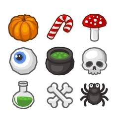 Cartoon style Halloween Icon Set vector image vector image