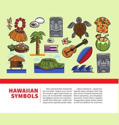 hawaii travel welcome poster of hawaiian vector image vector image