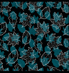 leaves seamless double blue vector image vector image