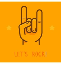 lets rock banner in outline style vector image vector image
