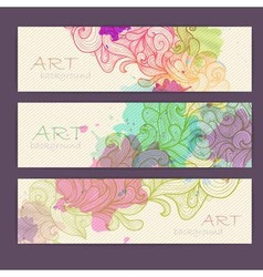 Set of ornamental artistic watercolor banners vector image