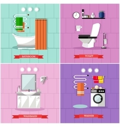set of posters banners with bathroom vector image vector image