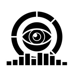analytics - marketing research diagrams eye icon vector image vector image