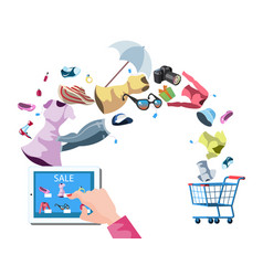 web store market with purchasing product process vector image