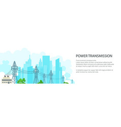 white banner of high voltage power lines vector image vector image
