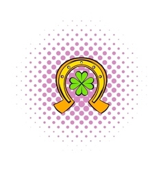 Horseshoe and four leaf clover icon comics style vector image vector image