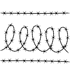 set of barbed wire silhouettes vector image