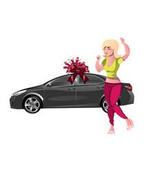girl enjoys the gift new car vector image vector image