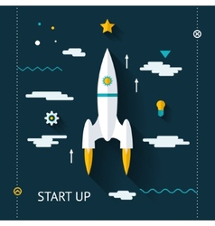 Retro flat design space launch start up concept vector