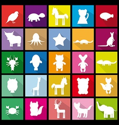Set silhouettes of animals Flat icon vector image
