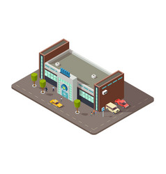 3d mall or shopping center with people taxi vector