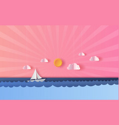 3d paper art and craft of seascape view with a vector image