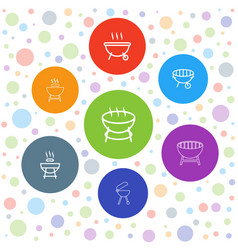 7 bbq icons vector image