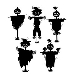 A set of silhouettes of scarecrows collection of vector
