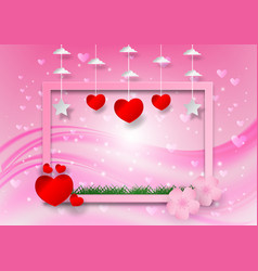 abstract with heart shape and frame on pink vector image