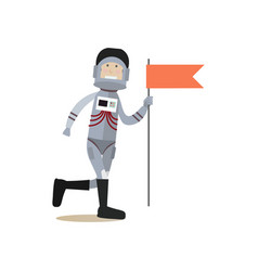 Astronaut with red flag flat vector
