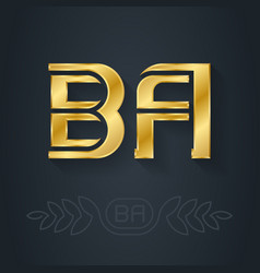 B and a - initials or golden logo ba - metallic vector