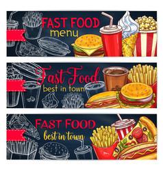 banners set for fast food restaurant menu vector image