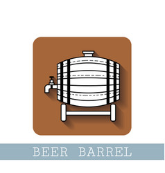 Beer wooden barrel with a tap black and white vector