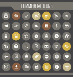 Big commercial icon set trendy flat icons vector