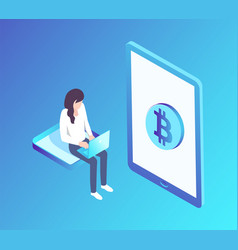 Bitcoin woman with laptop vector