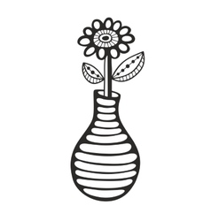Black and white image of flower and vase vector