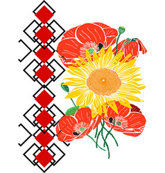 Bouquet of sunflowers and red blossoming poppies vector