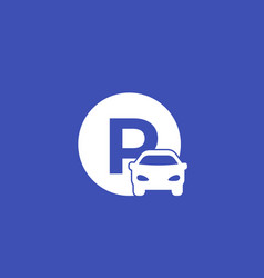 Car parking roadsign icon vector