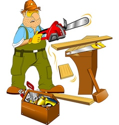 Carpenter and toolbox vector