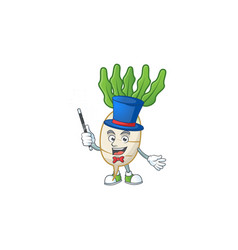 Cartoon character daikon performance as a vector