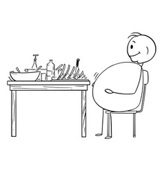 Cartoon fat or obese or overweight man sitting vector