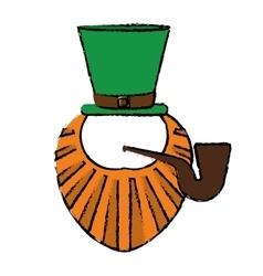 cartoon st patrick day leprechaun beard hat and vector image