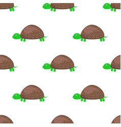 cartoon turtle seamless pattern on white vector image
