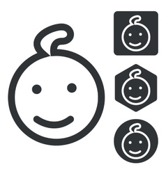 Child icon set monochrome vector