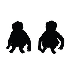 Child squat silhouette vector