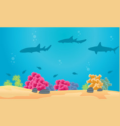 collection of underwater landscape with shark vector image